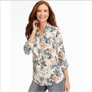 Talbots Nantucket Tropical Floral Button Down Top
